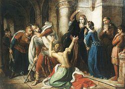 Salamont anyja megátkozza. Orlai Petrics Soma festménye, 1855