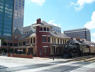 Church Street Station (Orlando) - Pre-SunRail view, with historic locomotive on display