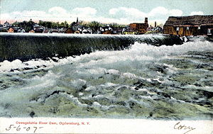 Oswegatchie River - Oswegatchie River Dam, Ogdensburg, from a 1907 postcard
