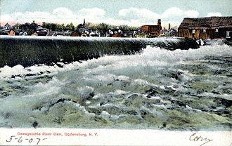 Oswegatchie River - Oswegatchie River Dam, Ogdensburg, from a 1907 postcard