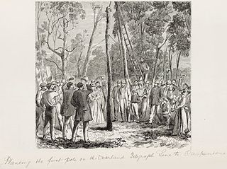 Planting the first pole on the Overland Telegraph line to Carpentaria