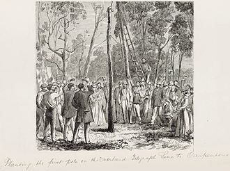 Australian Overland Telegraph Line - Planting the first pole on the Overland Telegraph line to Carpentaria.