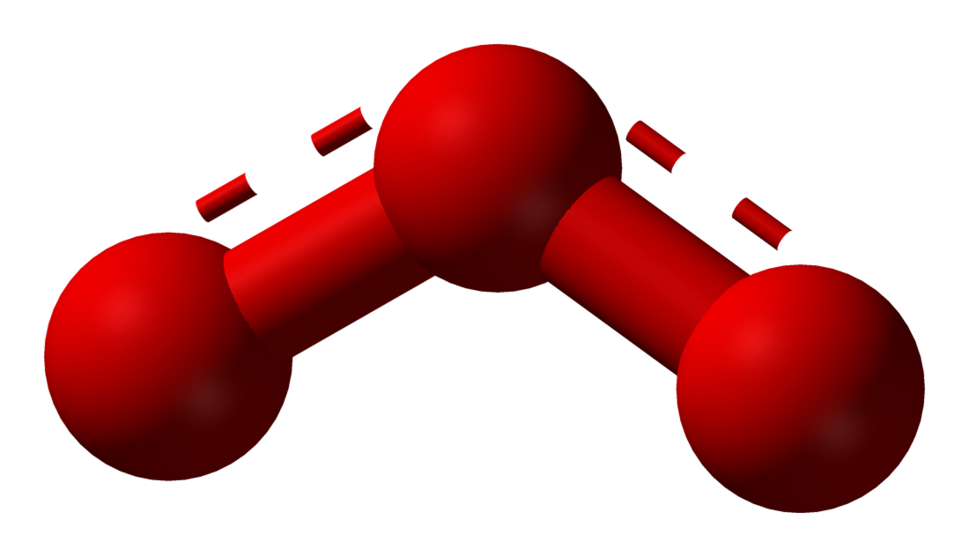 Ball and stick model of ozone