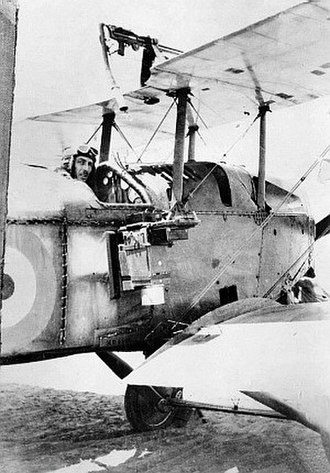 "Adrian Cole (RAAF officer) - Lieutenant Cole in a No. 1 Squadron Martinsyde ""Elephant"" equipped for photographic reconnaissance, Palestine, 1917"