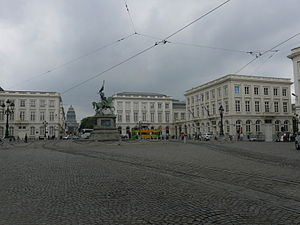 Place Royale (Brussels) - Looking south across the Place Royale towards the Brussels Palace of Justice in the background