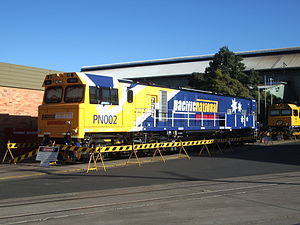 Downer Rail - Pacific National GT42CU AC at Maryborough factory in November 2004