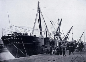 Port of Manchester - The first cotton to arrive at the Port of Manchester being unloaded on 17 January 1894