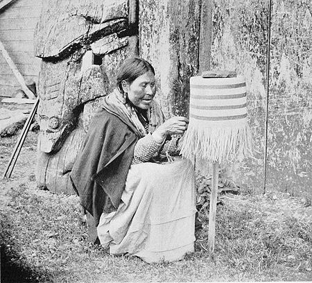 PSM V53 D177 Haida woman of masset weaving a basket.jpg