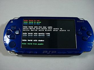 """Hello, World!"" program - A ""Hello, world!"" program running on Sony's PlayStation Portable as a proof of concept."