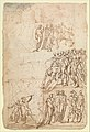 Page from a Sketchbook Depicting a City under Siege and a Scene of Homage(?) (recto); standing figures and a horseman; male and female figures; a battle scene (verso) MET DP358980.jpg
