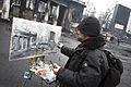 Painter at Hrushevskogo street, Kiev, February 9, 2014.jpg