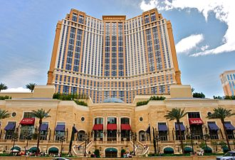 Las Vegas Valley - Exterior of the Palazzo hotel. A major part of the city economy is based on tourism including gambling and ultra-luxury hotels.