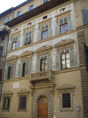 Palazzo Nasi - Facade of Palazzo Nasi with graffito.