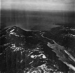 Palma Glacier, terminus of valley glacier in glacial lake, Palma Bay in the background, September 12, 1973 (GLACIERS 5759).jpg