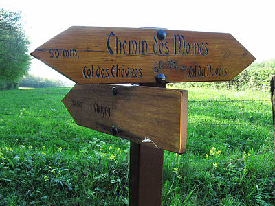 signpost along the Chemin des Moines