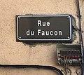 Panneau de la rue du Faucon (Villefranche-sur-Saône).jpg
