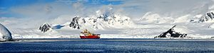 Panoramic image of HMS Protector, in the vast and beautiful landscape of Antarctica. MOD 45156394.jpg