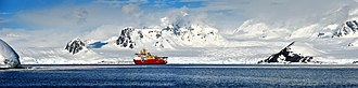 HMS Protector (A173) - Image: Panoramic image of HMS Protector, in the vast and beautiful landscape of Antarctica. MOD 45156394