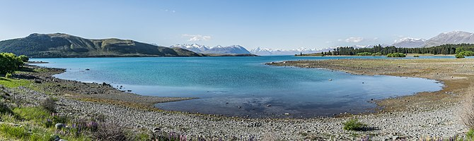 Panoramic view of Lake Tekapo in Canterbury Region, South Island of New Zealand