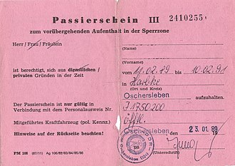 Fortifications of the inner German border - East German permit to access the 5 km wide Sperrzone behind the border