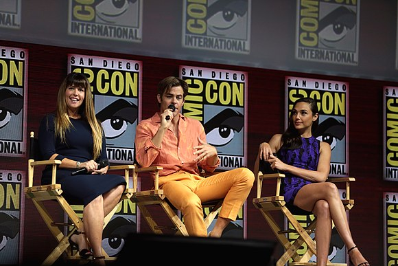 Patty Jenkins, Chris Pine, and Gal Gadot promoting Wonder Woman 1984 at the 2018 San Diego Comic-Con