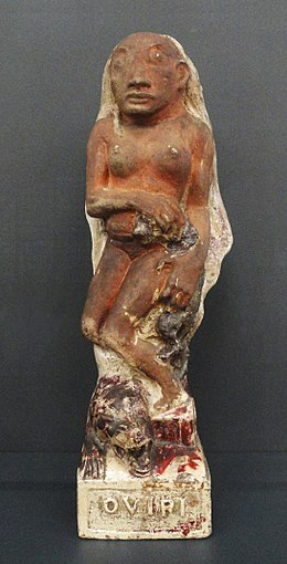 Paul Gauguin, Oviri (Sauvage), 1894, partially glazed stoneware, 75 x 19 x 27 cm, Musée d'Orsay, Paris.jpg