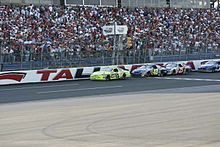 NASCAR driver Paul Menard leads a race at Talladega Superspeedway