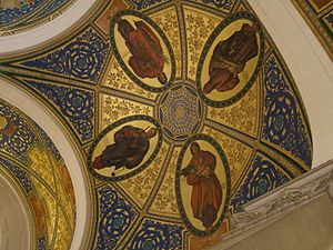 Eunomia (mythology) - Eunomia top right with Dike, Eirene and Themis, on a ceiling painting in Den Haag