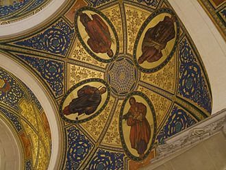 Eunomia - Eunomia top right with Dike, Eirene and Themis, on a ceiling painting in Den Haag