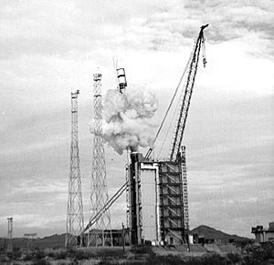 Area 25 (Nevada National Security Site) - A canister launch system ejects a mock Peacekeeper missile from its silo in Area 25.