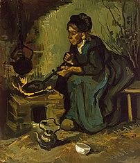 Paysanne faisant la cuisine, huile sur toile de Vincent van Gogh (juin 1885, Metropolitan Museum of Art). (définition réelle 3012×3511)