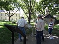 People gather around a wayside at Seth Hays Home in Council Grove, KS (d3512d93de4441fe9dbccdef2e755293).JPG