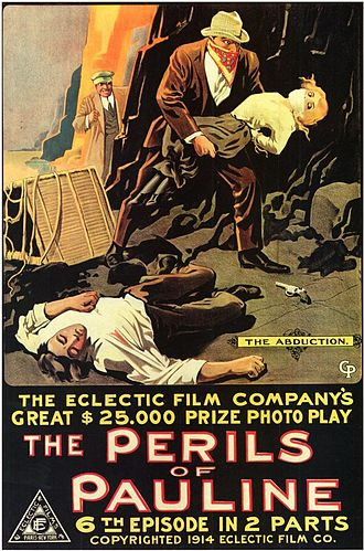Cliffhanger - Poster of the 1914 Perils of Pauline, which popularized the term cliffhanger in the medium of film.