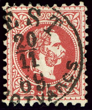 Postage stamps and postal history of Hungary - 5 kreuzer cancelled at Pest Lipotvaros in 1869