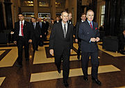 Peter Pace and Jock Stirrup at the British Ministry of Defence