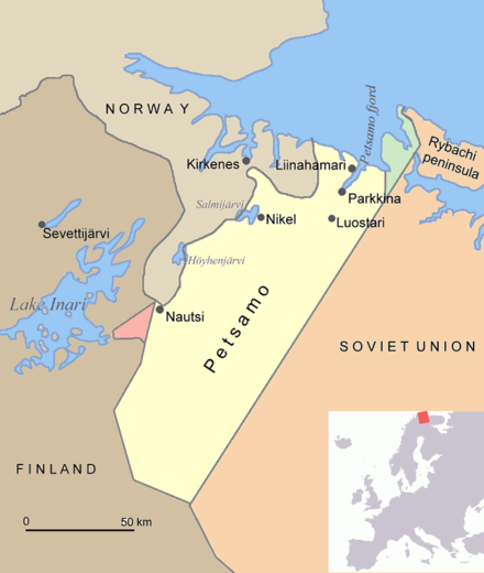 Map of Petsamo area in northern Finland/Soviet Union/Russia. The green area is the Finnish part of the Rybachi peninsula (Kalastajasaarento) which was ceded to the Soviet Union after the Winter War. The Red area is the Janiskoski-Niskakoski area ceded to the USSR in 1947. Petsamo.png