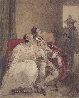 Peveril of the Peak - Julian Peveril and Alice Bridgenorth, surprised by Major Ralph Bridgenorth (Richard Parkes Bonington, ca. 1826)