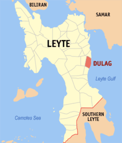 Map of Leyte with Dulag highlighted