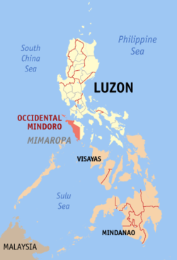 Map of the Philippines with Occidental Mindoro highlighted