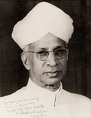 Sarvepalli Radhakrishnan - Image: Photograph of Sarvepalli Radhakrishnan presented to First Lady Jacqueline Kennedy in 1962