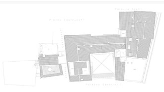 """Palazzo Albertoni Spinola - The floor plan of the building: the two bodies(Palazzo and Palazzetto) and the """"secret"""" roof garden connected by the overbridge"""