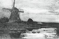 Piet Mondriaan - Oostzijdse mill from downstream with evenly streaked sky - A406 - Piet Mondrian, catalogue raisonné.jpg