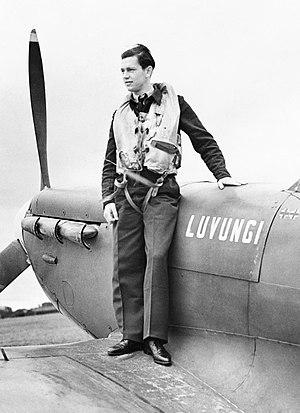 "Belgian Congo in World War II - A Belgian pilot in the British Royal Air Force, 1942. His Spitfire aircraft was funded by contributions from the Congo, and took its name, ""Luvungi"", from the Congolese town of that name."