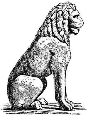 Piraeus Lion - Piraeus Lion drawing of curved lindworm inscription (shoulder/flank).