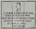 Placa homenaje a Roberto Mertins en el Colegio Mayor Nuestra Señora de Guadalupe, en la Ciudad Universitaria de Madrid.jpg