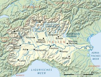 Lage und einzugsgebiet des flusses po