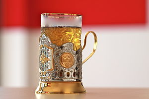 Podstakannik - A glass of tea inside a gilded glass holder