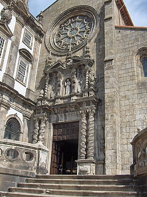 Church of São Francisco (Porto) - Baroque main portal and Gothic rose window of the main façade.