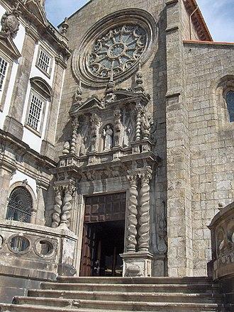 Church of São Francisco (Porto) - Baroque main portal and Gothic rose window of the main façade.