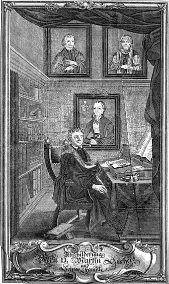 Martin Luther at his desk with family portraits (17th century)